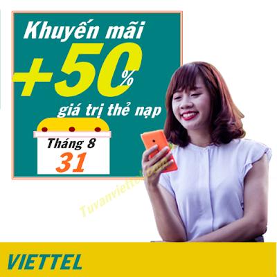 Viettel khuyến mãi 50% mệnh giá thẻ nạp ngày 31/8/2016