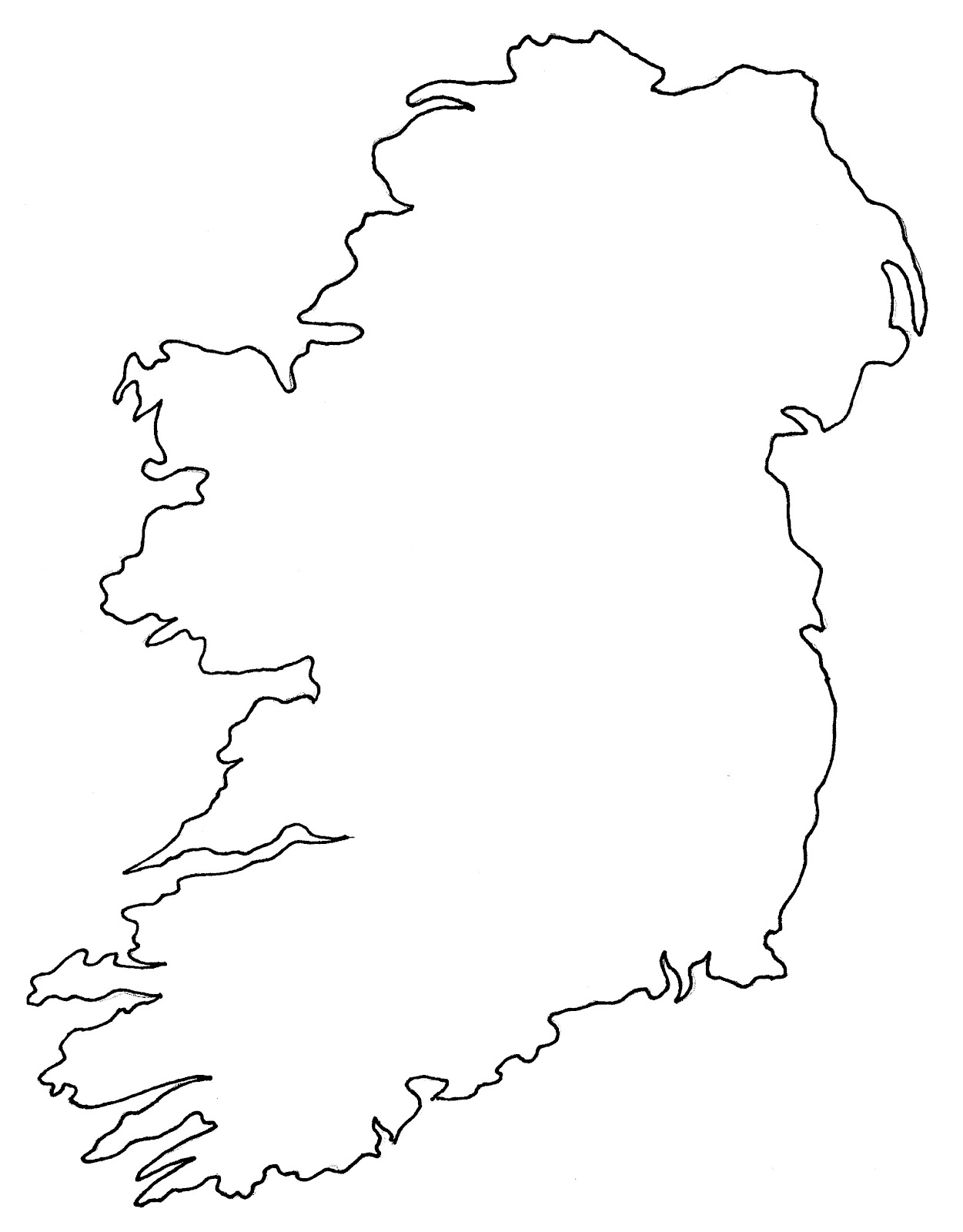 Outline Of Ireland Map