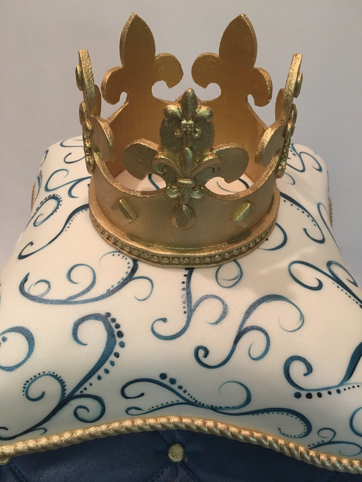 Mymonicakes Royal Prince Pillow Cake With Fondant Crown