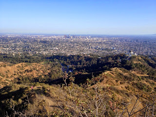 View south toward Griffith Observatory and Downtown Los Angeles from Mt. Hollywood, Griffith Park