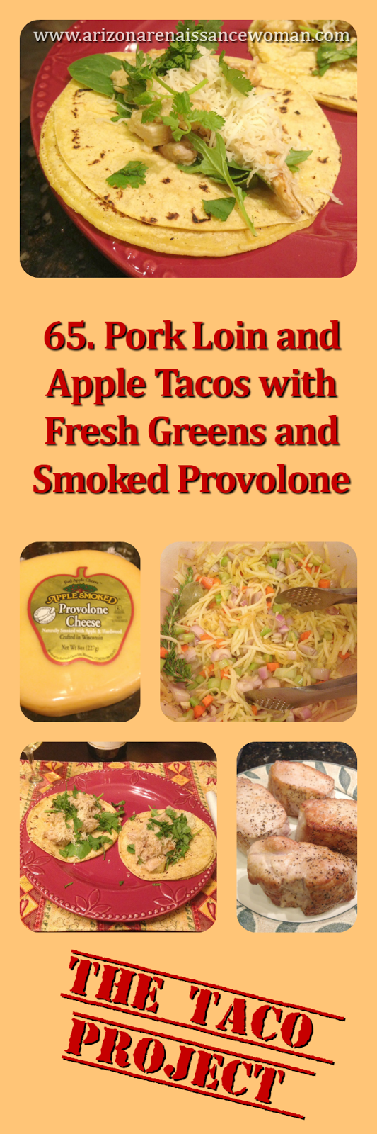 Pork Loin and Apple Tacos with Fresh Greens and Smoked Provolone Collage