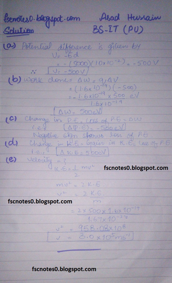 F.Sc ICS Notes: Physics XII: Chapter 12 Electrostatics Numerical Problems by Asad Hussain 10