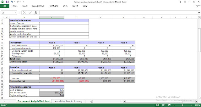 Download Procurement Analysis Excel Template