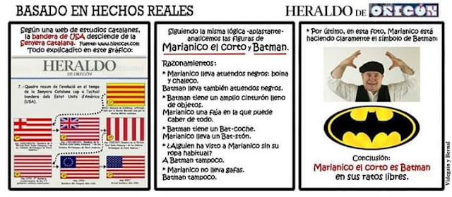Marianico el corto es Batman, bandera de USA, senyera catalana,
