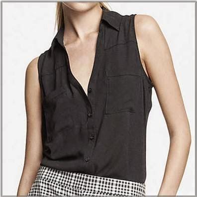 Ladies Black Sleeveless Shirt