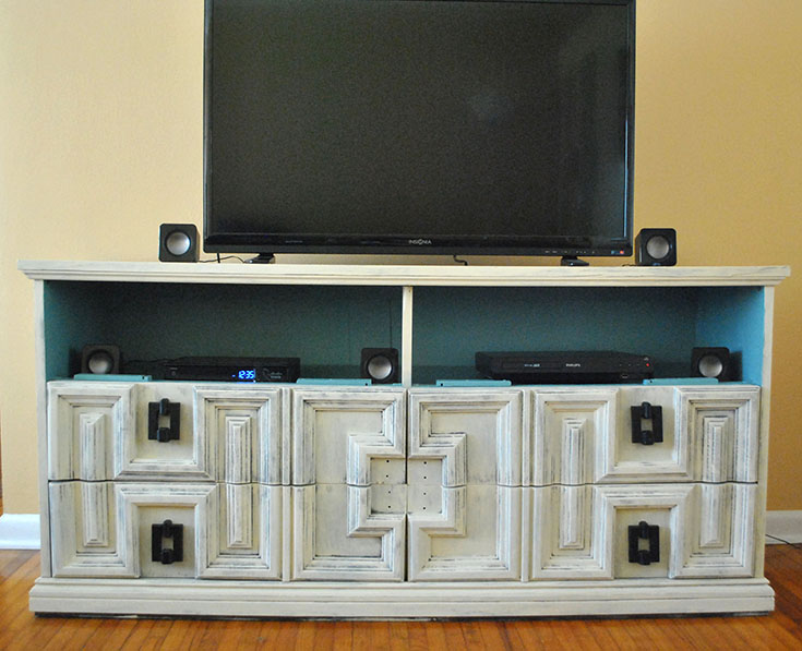 DIY Dresser into Vintage Pottery Barn Entertainment Center + Our New Living Room {Work in Progress}
