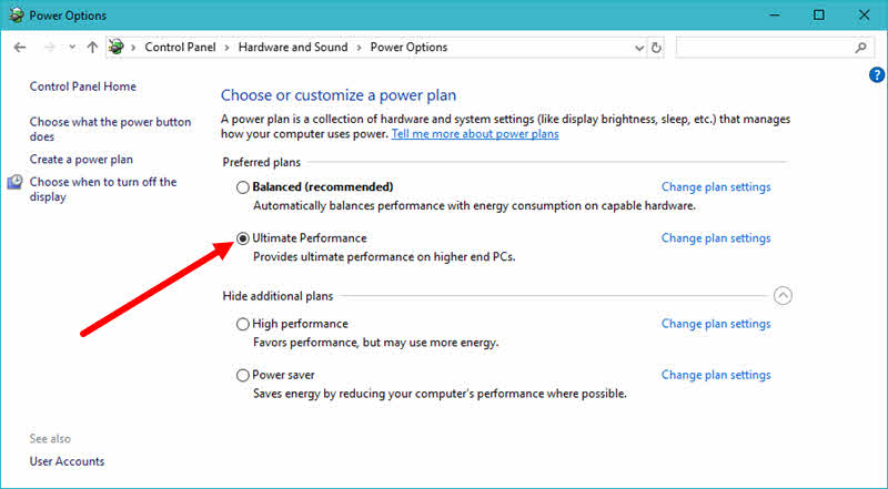 Microsoft's next Windows 10 update will have a new power plan, named 'Ultimate Performance'