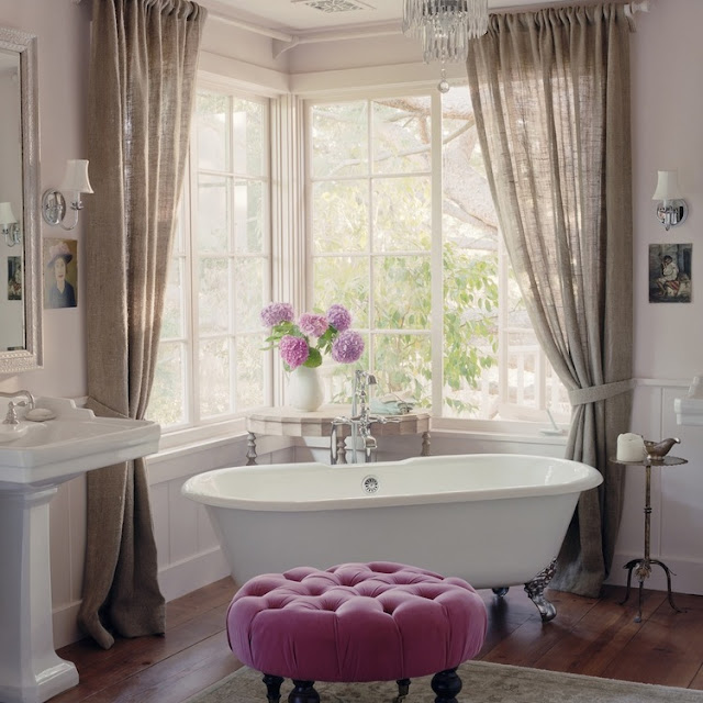 Romantic elegant bathtub in California beach cottage in Santa Monica by Giannetti Home