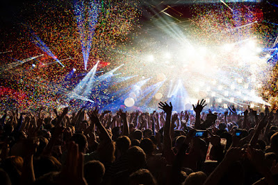 Revelers celebrating during an Icelandic music festival in July