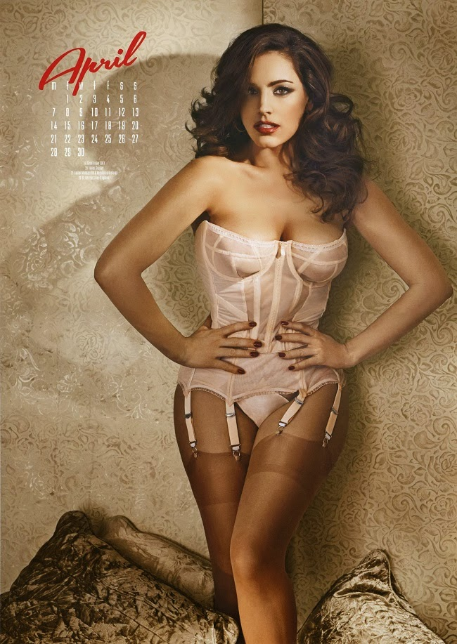 Kelly Brook lingerie looks for 2014 Calendar