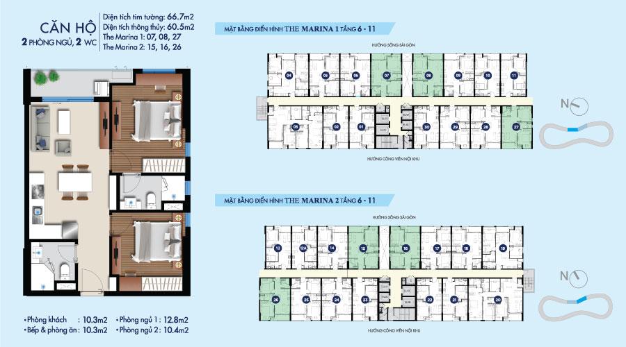 Mặt bằng căn 2PN-2WC-68m2 toà The Marina tầng 6-11 căn hộ River City
