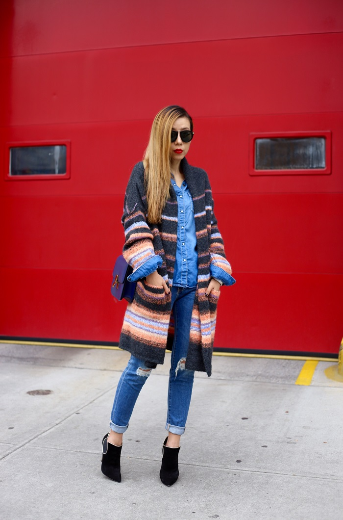 Free people stripe alpaca blend coat, double denim, ag jeans, casadei ankle booties, celine classic box bag, chanel earrings, karen walker harvest sunglasses, double denim, fall coat, fall essentials, fashion blog, nyc blogger, nordstrom fall clearance sale