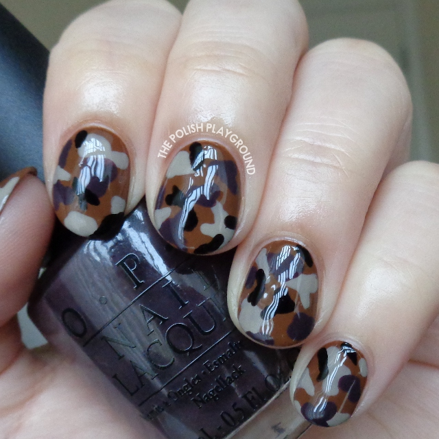 Neutral Colored Camouflage Nail Art