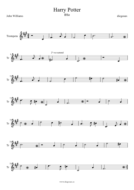 Partitura de Harry Potter para Trompeta y Fliscorno Hedwig´s Theme OST songs Sheet music for Trumpet and Flugelhorn (music scores). Partitura para piano aquí
