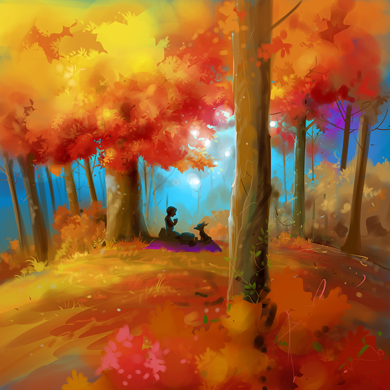 kids picture book illustration boy praying in forest