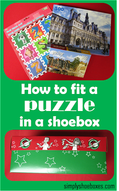 How to Fit a large puzzle in an Operation Christmas Child Go Boxl.