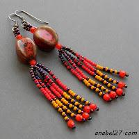 Этно-серьги с керамическими бусинами - авторские украшения из бисера