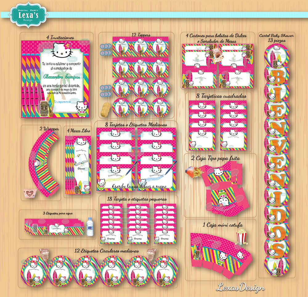 Kit imprimibles para fiestas Hello Kitty Hawaii  gratis
