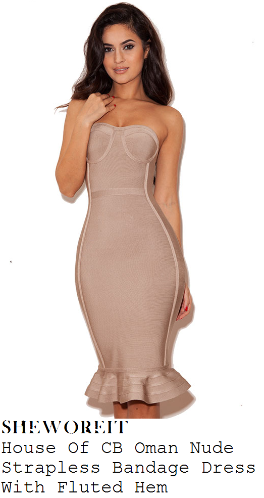 f2a74912a502 Casey Batchelor's House Of CB Oman Nude Taupe Strapless Sweetheart Neckline  Bodycon Bandage Dress With Fluted Frill Hem