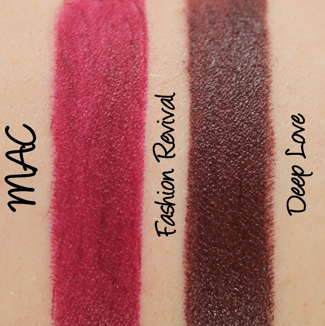 MAC Monday: MACnificent Me - Deep Love, Fashion Revival Lipstick Swatches & Review