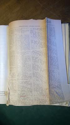 Valokuva pöytäkirjaan liitetystä sanomalehden sivusta