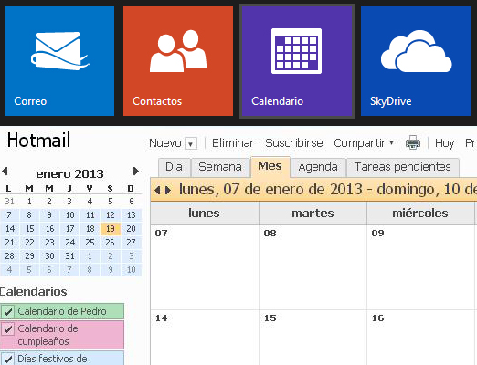 Organízate con el calendario de Outlook