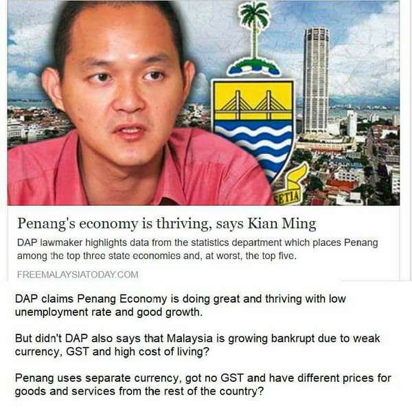 DAP Kata Negara Nak Muflis Tapi Ekonomi Pulau Pinang Semakin Berkembang
