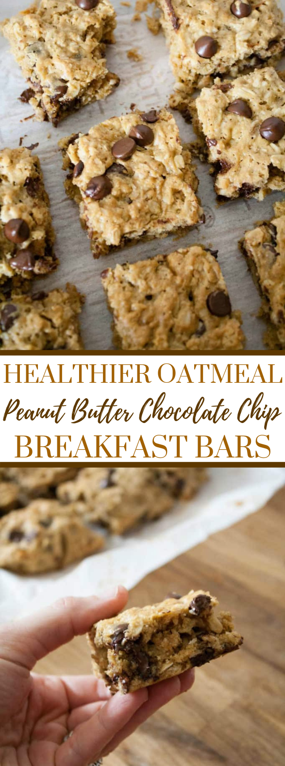 HEALTHIER OATMEAL PEANUT BUTTER CHOCOLATE CHIP BREAKFAST BARS #healthy #deliciousrecipe