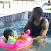 Photo: Tiwa Savage's husband, Teebillz enjoy swimming with his son
