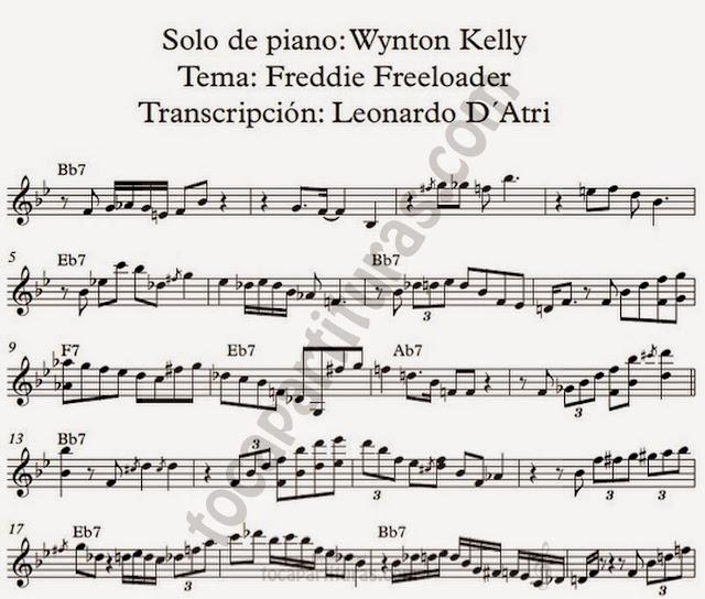 Transcripción del Solo de Piano de Wynton Kelly. Partitura del Tema Freddie Freeloader por Leonardo D'Atri