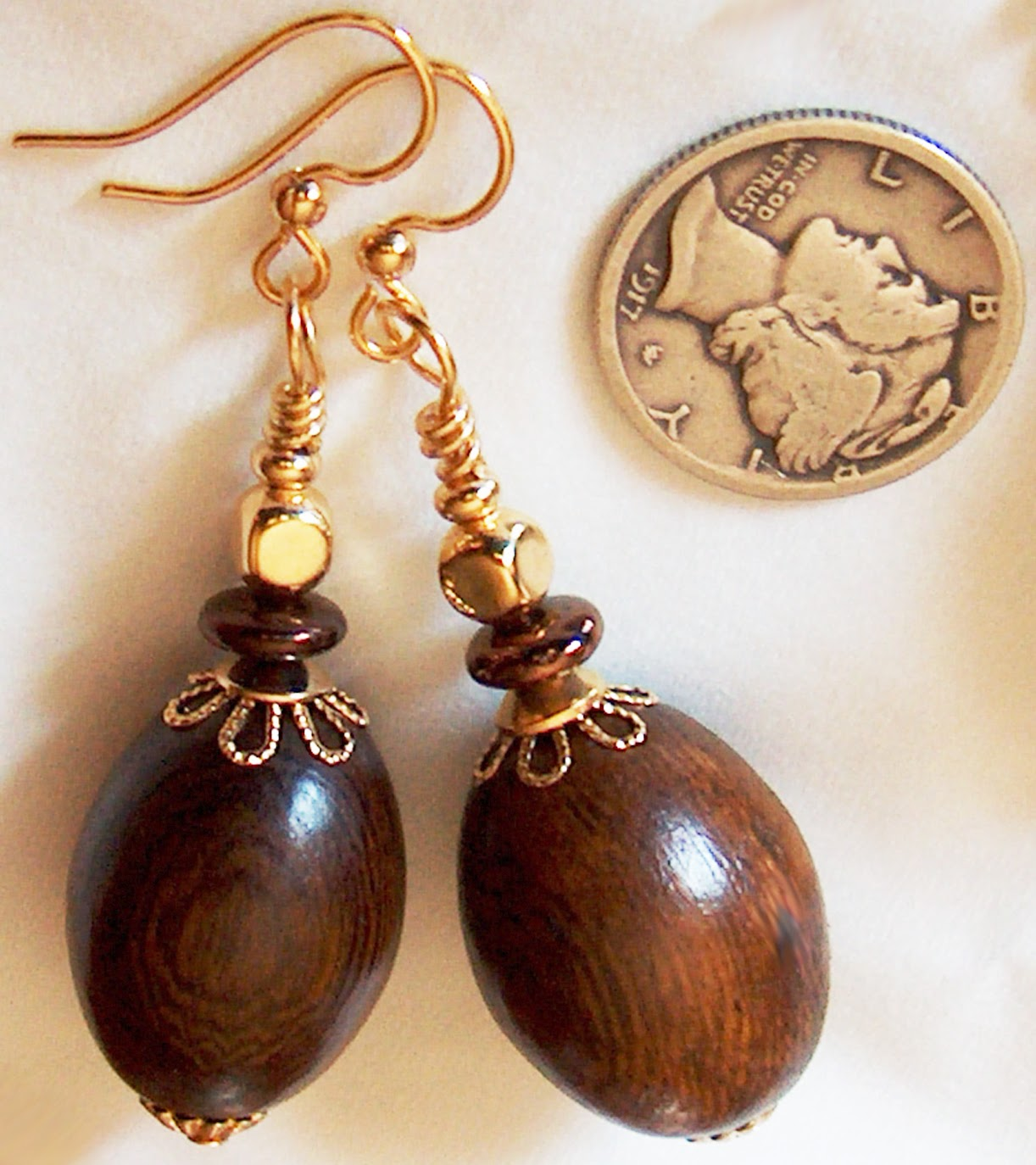 Gold Wood Fancy Earrings Kirsten USA