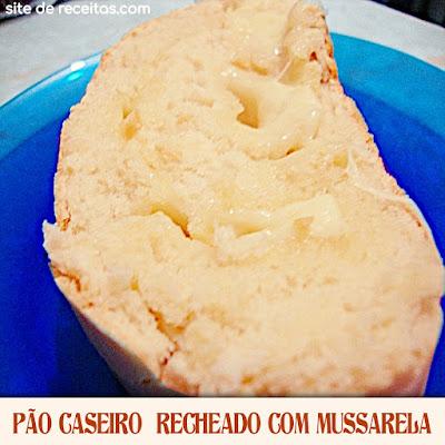 Pão caseiro recheado com mussarela
