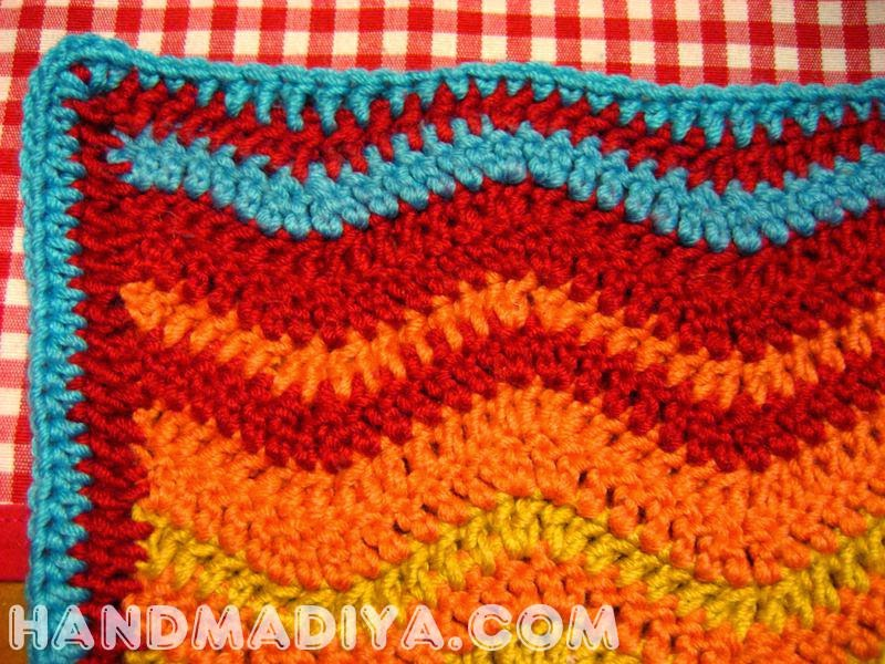 Crochet wavy bright plaid tutorial