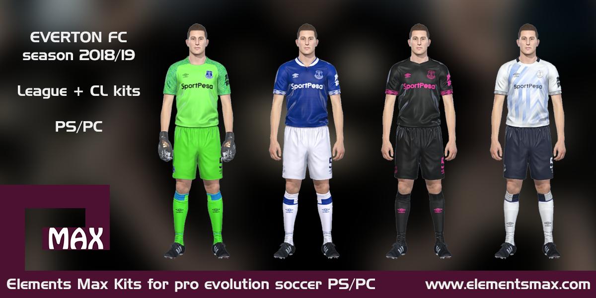 brand new b7835 948d8 Elements MAX Kits: Everton FC PES Kits 2018/19