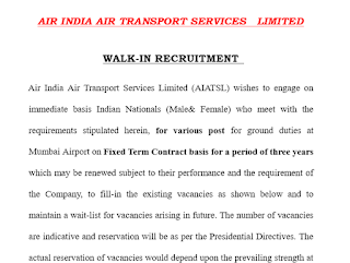 Air India Air Transport Service Limited: Walk-In Interview Recruitment