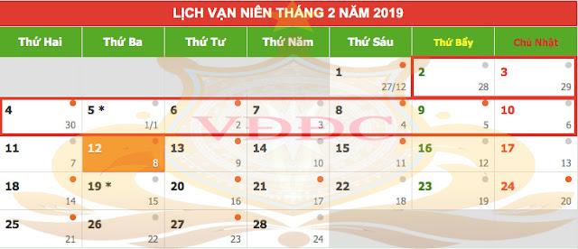 Lịch chính thức các ngày lễ và nghỉ Tết Dương lịch năm 2019