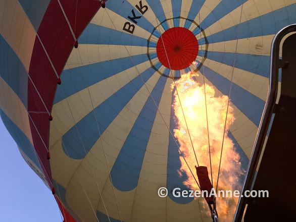 Sıcak hava balonunun propan gazı ile ısıtılması, Kapadokya Balloons