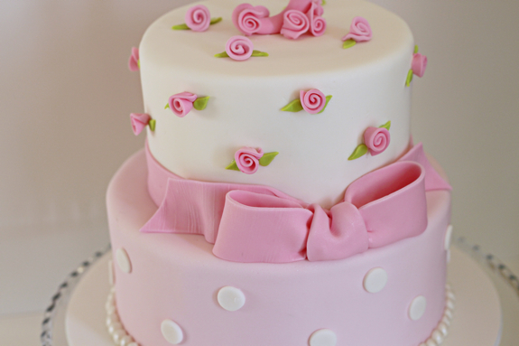 The Cake Included Cute Ribbon Roses In Pink Flavors Were Vanilla With Buttercream Filling And Chocolate Ganache