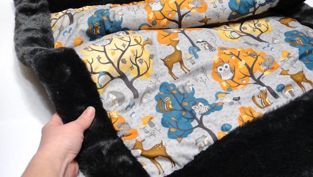 Одеяло в коляску: искусственный теплый мех и натуральный хлопок Woodland. Подарок на выписку, подарок молодой маме