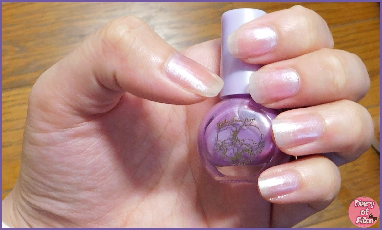 Review ♥ DAISO Nail Color Little Twin Stars (Aurora Purple ...