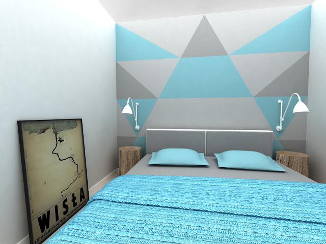 Dacon-Design-architekt-sypialnia-niebieski-lozko-plakat-pieniek-kinkiet-narzuta-warkocz