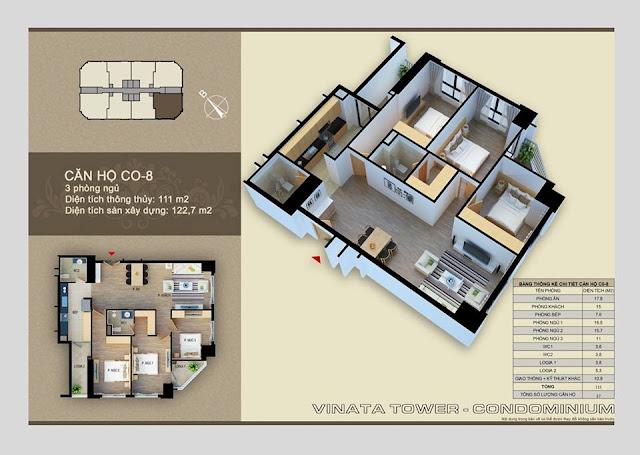 Thiết kế căn hộ C-08 Vinata Towers, 111m2 - 3PN,2VS