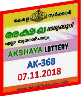 kerala lottery result from keralalotteries.info 07/11/2018, kerala lottery result 07-11-2018, kerala lottery results 11-11-2018, AKSHAYA lottery AK 368 results 07-11-2018, AKSHAYA lottery AK 368, live AKSHAYA   lottery AK-368, ,   AKSHAYA lottery results today, kerala lottery AKSHAYA today result, AKSHAYA kerala lottery result, today AKSHAYA lottery result, lottery download, kerala lottery