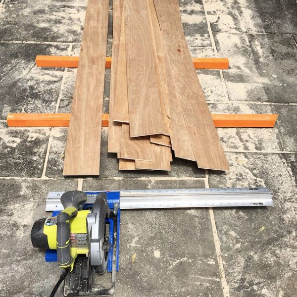 making planks from underlayment using rip cut
