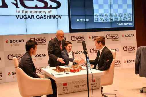 Nulle rapide entre Magnus Carlsen et Ding Liren - Photo © Shamkir Chess