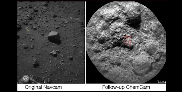 NASA's Curiosity Mars rover autonomously selects some targets for the laser and telescopic camera of its ChemCam instrument. For example, on-board software analyzed the Navcam image at left, chose the target indicated with a yellow dot, and pointed ChemCam for laser shots and the image at right. Credits: NASA/JPL-Caltech/LANL/CNES/IRAP/LPGNantes/CNRS/IAS