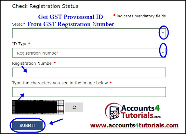 how to know gst provisional id from gst registration number. www.gst.gov.in
