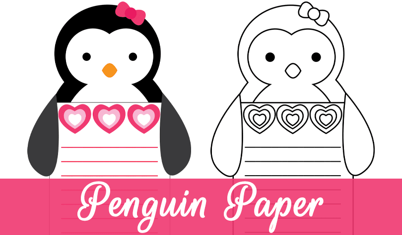 Valentine Penguin Writing Paper Freebie