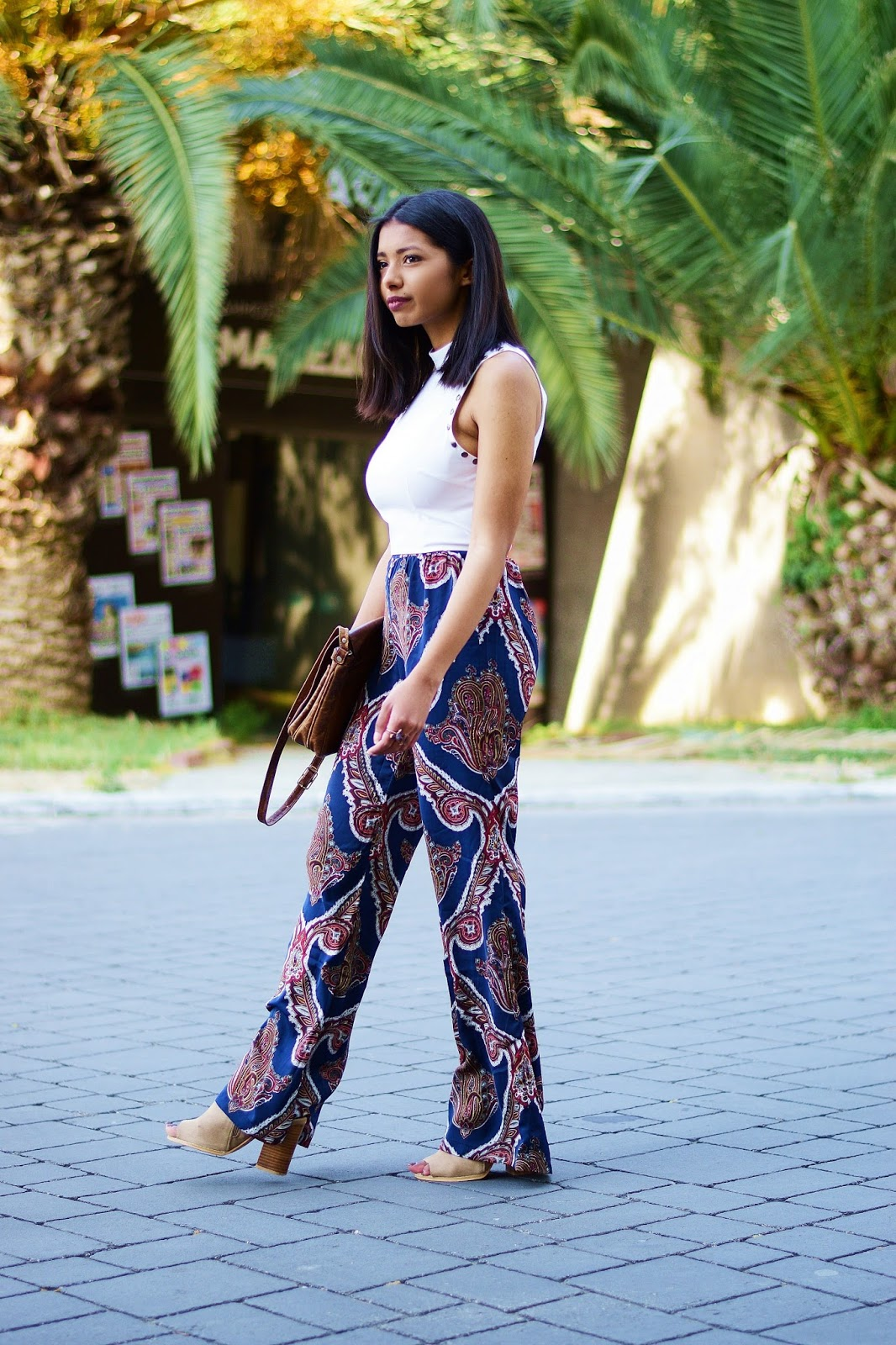 boho paisley print trousers