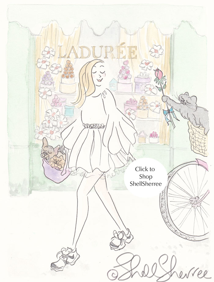 Laduree Paris and Woo You Kitty Cat fashion illustration  © Shell Sherree all rights reserved
